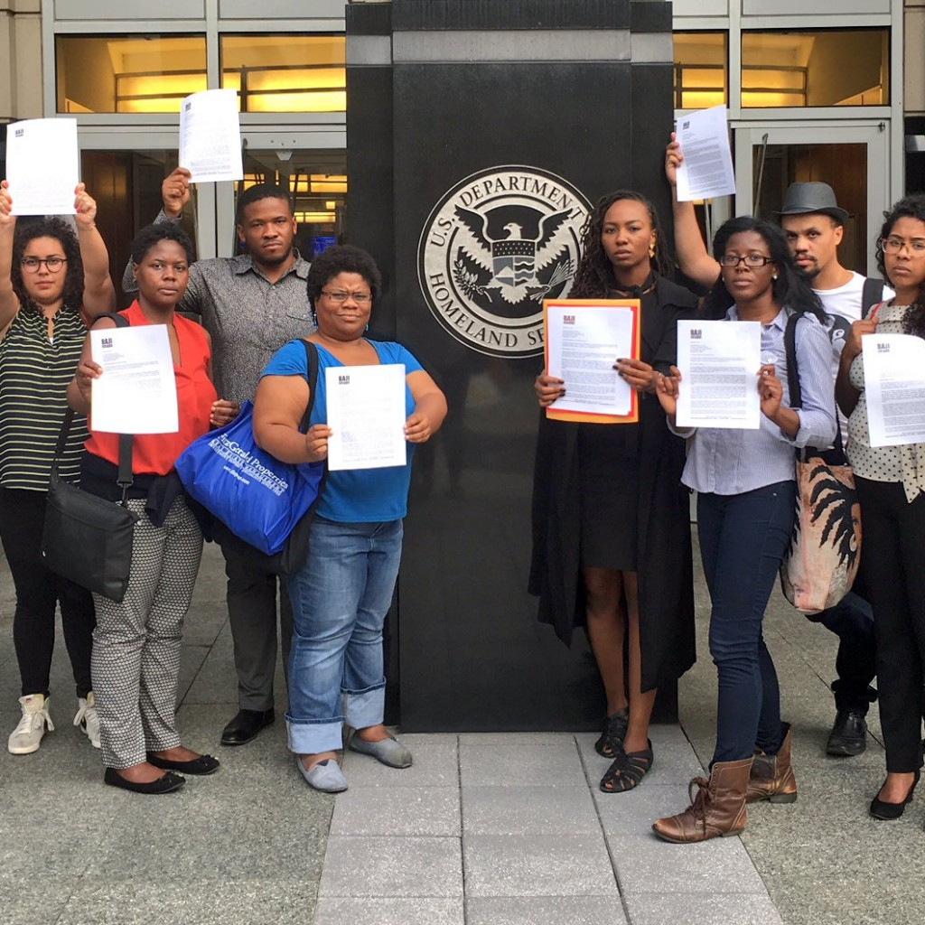 BIN Members and Allies gather in Washington D.C. to deliver sign-on letter with over 200 endorsements demanding  Sec. Jeh Johnson rescind the September 22nd directive resuming deportations to Haiti.